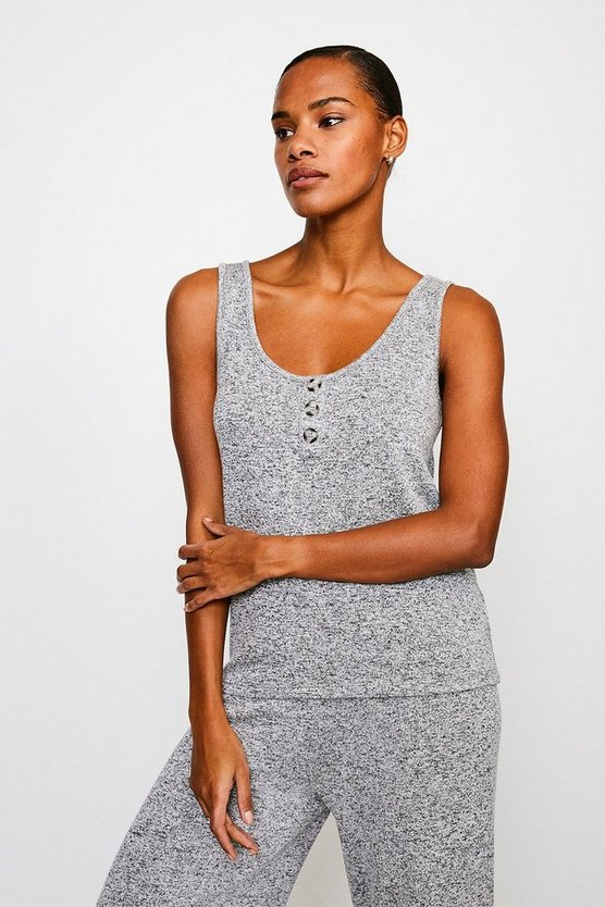Grey Super Soft Lounge Button Jersey Vest Top