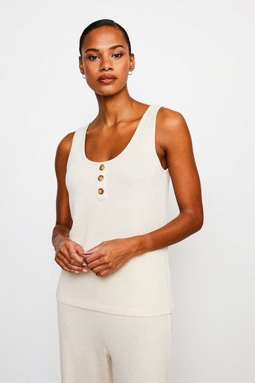 Oatmeal Super Soft Lounge Button Vest Jersey Top
