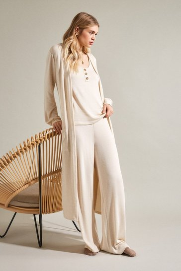 Oatmeal Super Soft Lounge Wide Leg Jersey Trousers