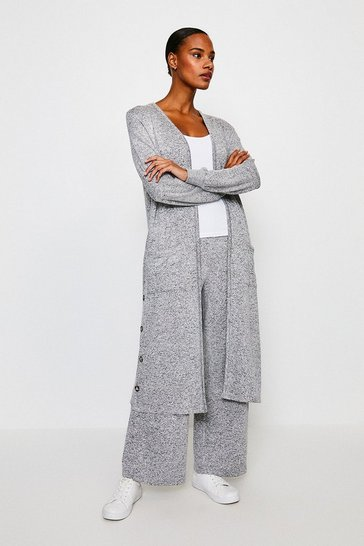 Grey Super Soft Lounge Long Jersey Cardigan