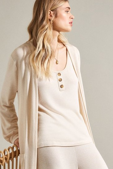 Oatmeal Super Soft Lounge Long Jersey Cardigan