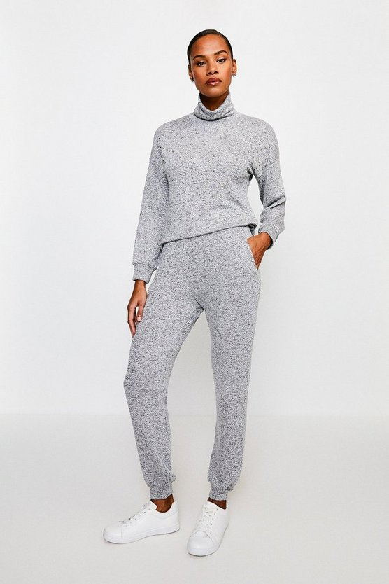 Grey Diamante Super Soft Lounge Jeresy Joggers