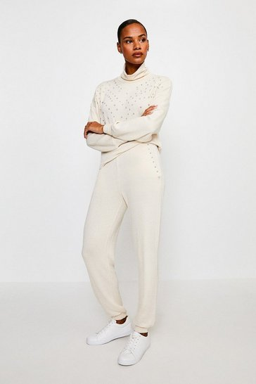 Oatmeal Lounge Diamante Super Soft Jersey Joggers