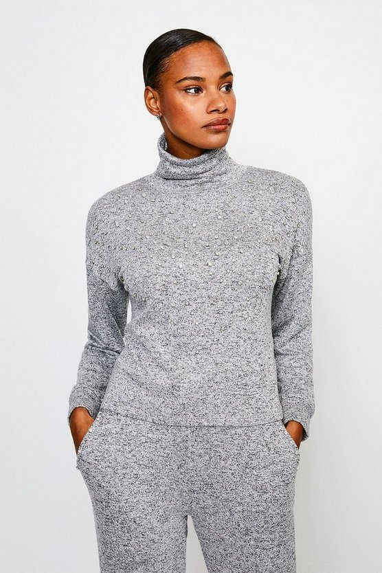 Grey Diamante Super Soft Lounge Jersey Top