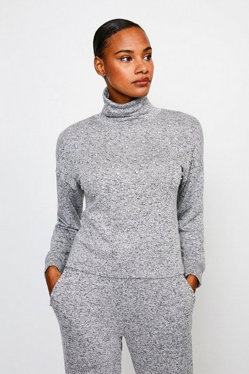 Grey Lounge Diamante Super Soft Jersey Top