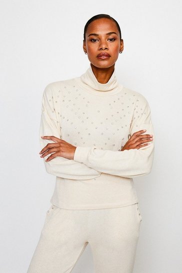 Oatmeal Lounge Diamante Super Soft Jersey Top