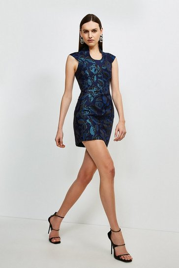 Cobalt Italian Jacquard Deep Scoop Neck Dress