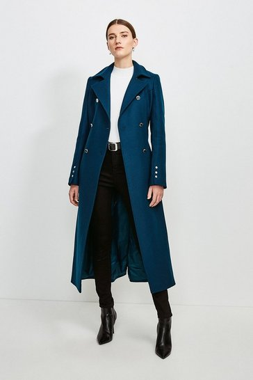 Teal Military Button Belted Maxi Coat