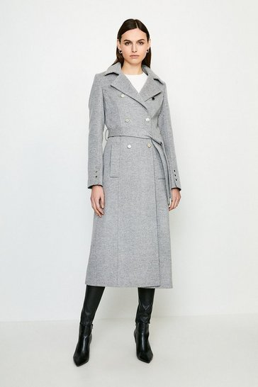 Grey Military Button Belted Maxi Coat