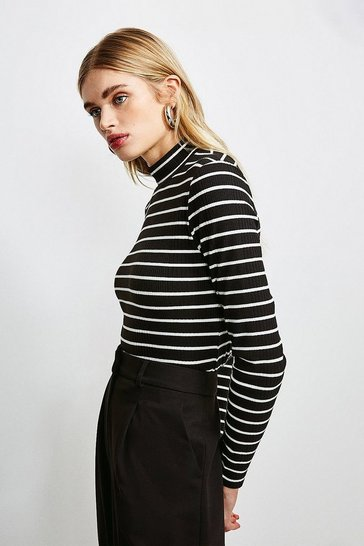 Black Stripe Rib Funnel Neck Jersey Top