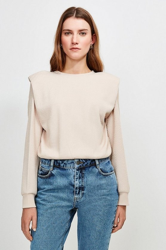 Blush Rib Shoulder Pad Jersey Top