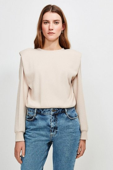 Blush Rib Shoulder Pad Jersey Tee