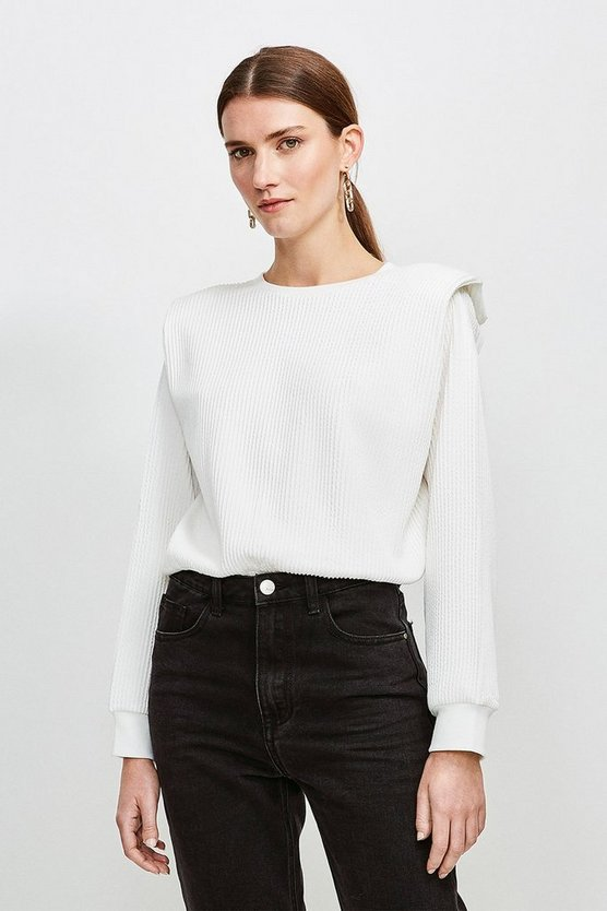 Cream Rib Shoulder Pad Jersey Top
