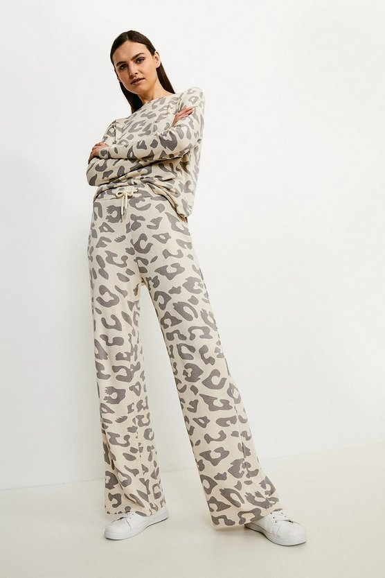 Lounge Animal Print Wide Leg Jersey Trousers