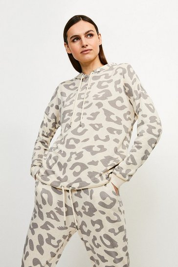Lounge Animal Print Hooded Jersey Top