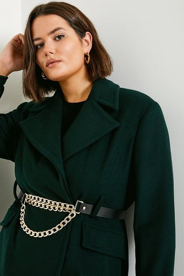 Bottle green Curve Chunky Chain Wool Coat