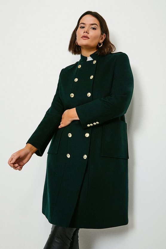 Bottle green Curve Military Wool Coat