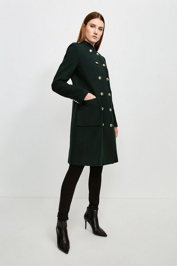 Bottle green Military Double Breasted Wool Coat
