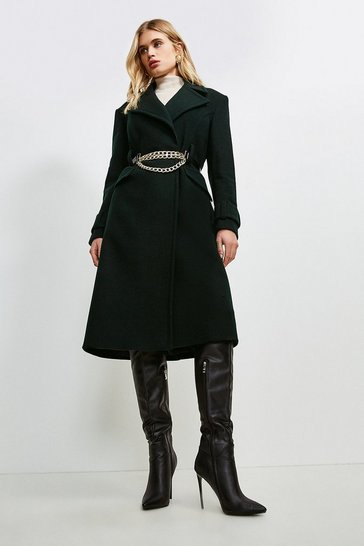 Bottle green Chunky Chain Wool Coat
