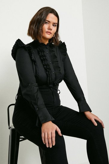 Black Curve Long Sleeve Pleated Ruffle Shirt