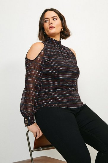 Black Curve Cold Shoulder Spot Top