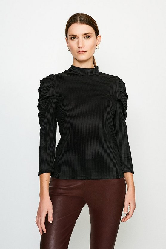 Black Tucked Shoulder Rib Jersey Top