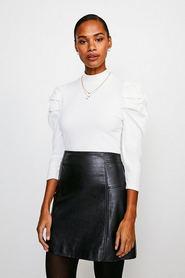 White Tucked Shoulder Rib Jersey Top