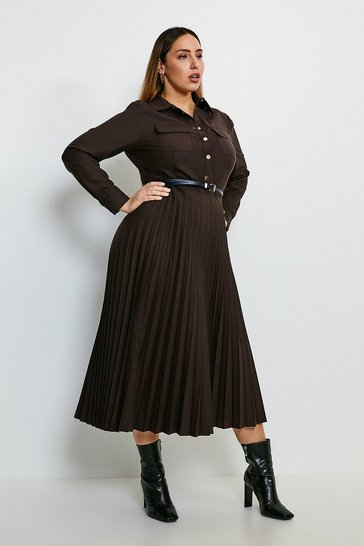 Chocolate Curve Polished Stretch Wool Blend Shirt Dress