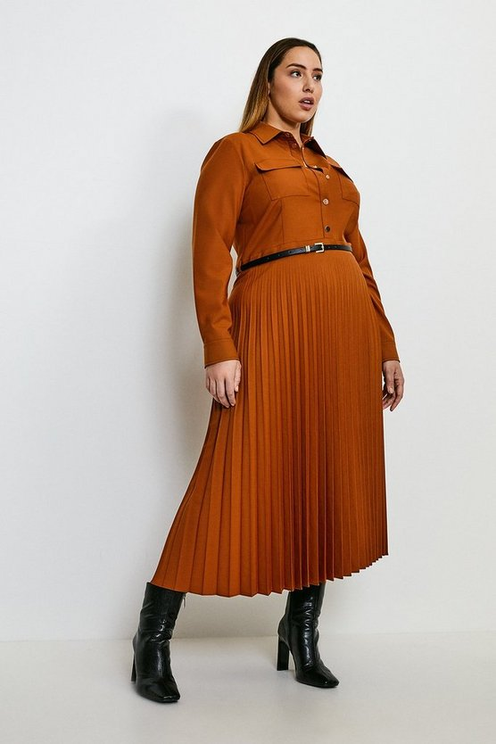 Tan Curve Polished Stretch Wool Blend Shirt Dress