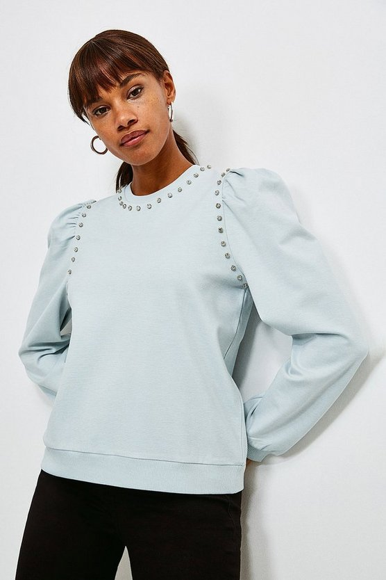 Pale blue Lounge Diamante Trim Jersey Sweatshirt