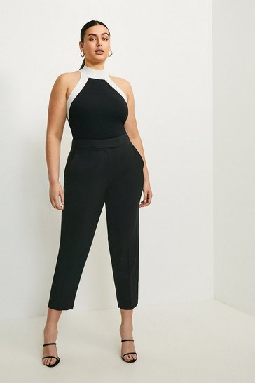 Black Curve Polished Stretch Wool Blend Trousers