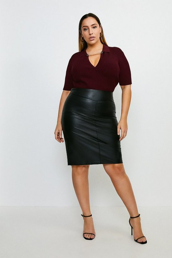Black Curve Faux Leather Pencil Skirt