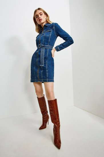 Mid wash Zip Seamed Denim Dress