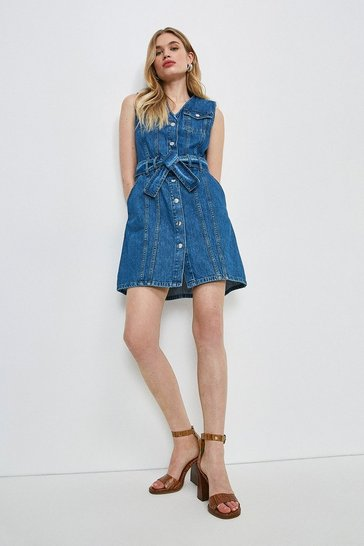 Mid wash Seamed Belted Denim Dress