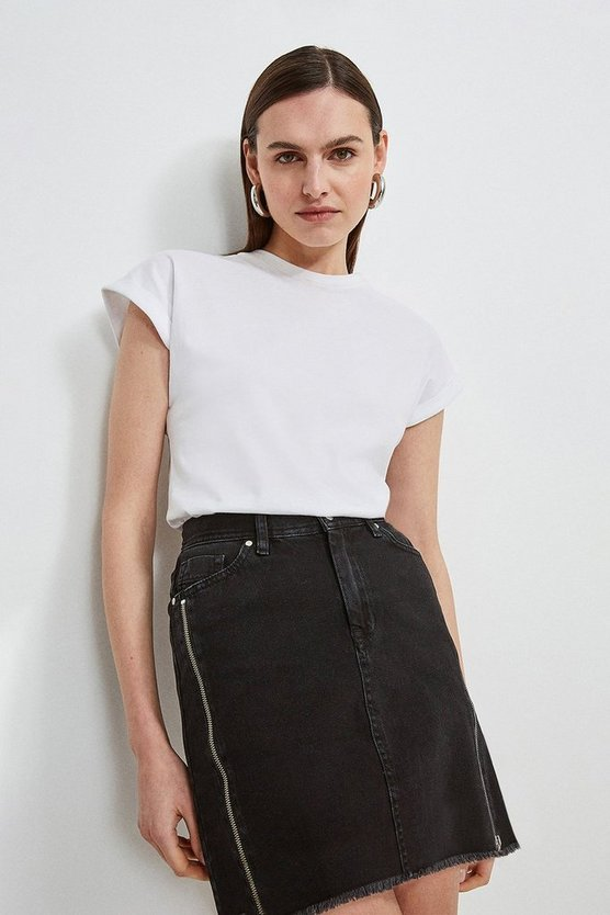 Washed black Zip Side Denim Mini Skirt