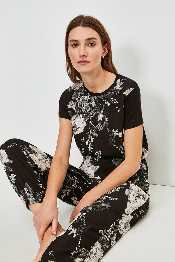 Black Floral Nightwear Jersey Back Top