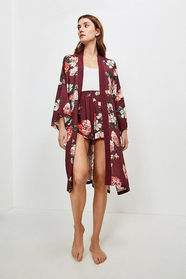 Burgundy Rose Print Nightwear Wrap