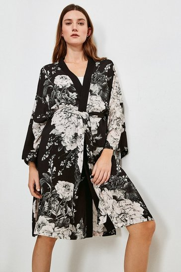 Black Floral Nightwear Wrap