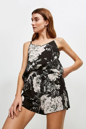 Black Floral Nightwear Shorts