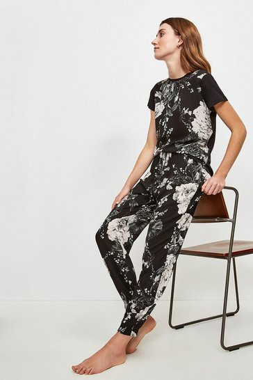 Black Floral Cuffed Nightwear Pant