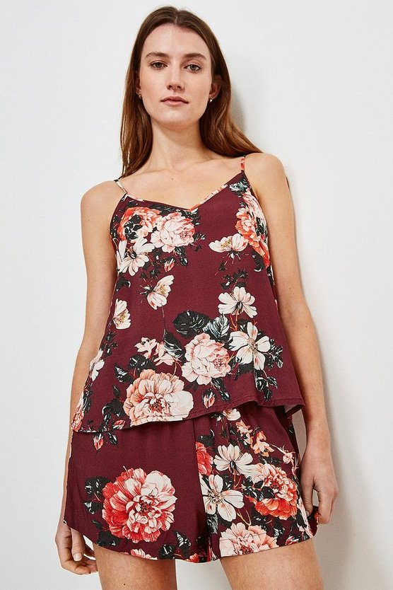 Burgundy Rose Print Nightwear Cami