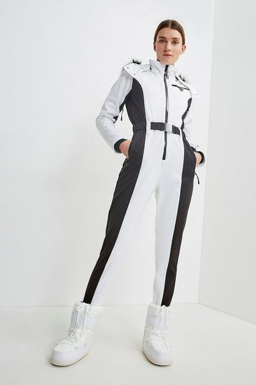 White Colour Block All In One Ski Suit