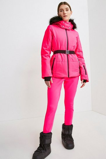 Fushia Colour Block Ski Jacket
