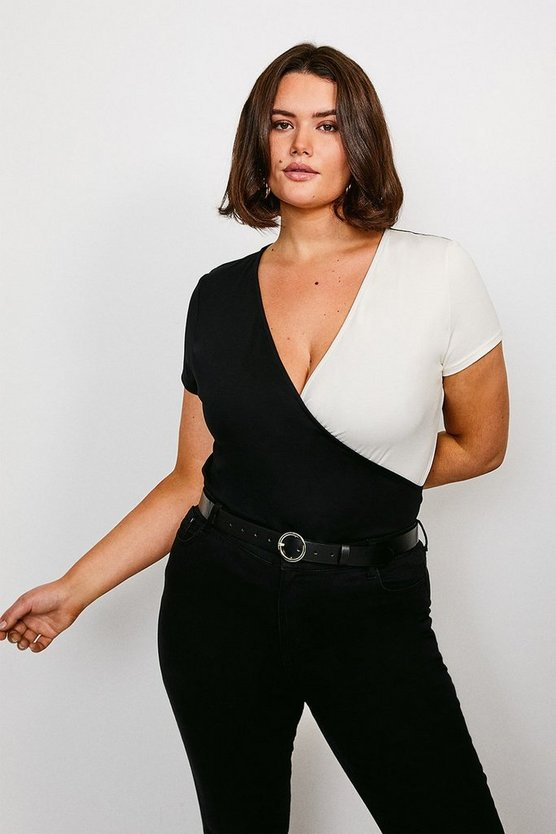 Black Curve Colour Block Viscose Jersey Wrap Top