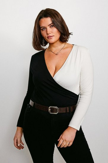 Black Curve Colour Block Jersey Wrap Top