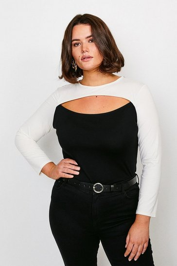 Black Curve Viscose Jersey Colour Block Peep HoleTop