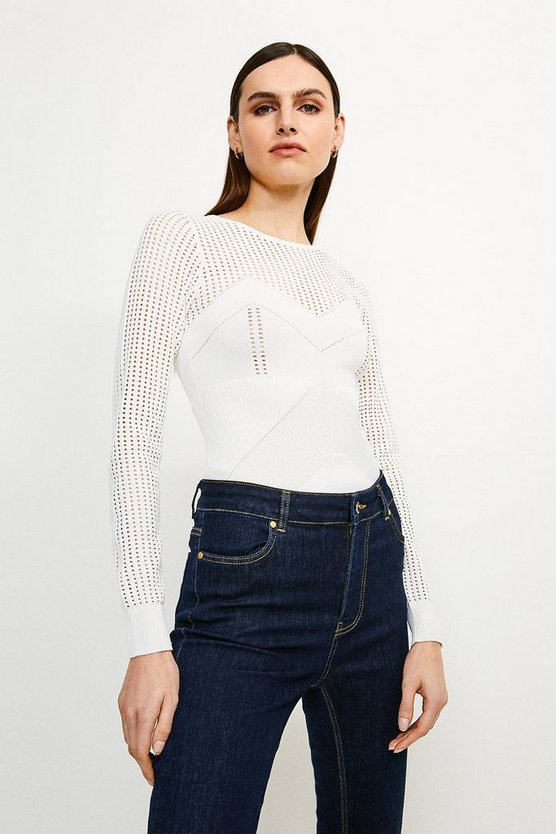 Ivory Open Work Pointelle Knit Jumper