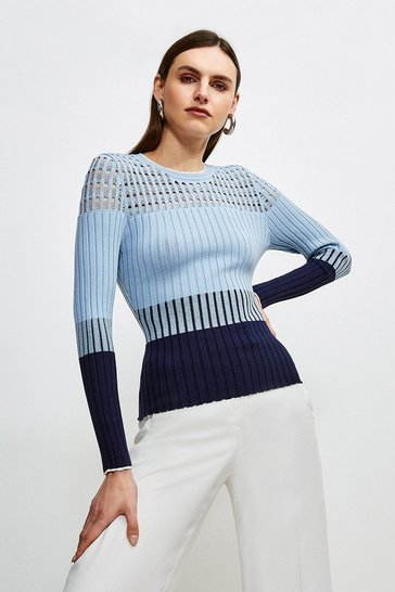 Blue Pointelle detail Colour Block Knit Jumper