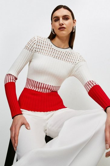 Red Pointelle detail Colour Block Knit Jumper