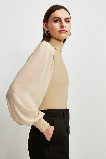Sand Georgette Sleeve Knit Jumper